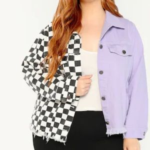 Jackets & Blazers - Purple and checkered jacket